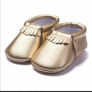 Baby gold moccasins